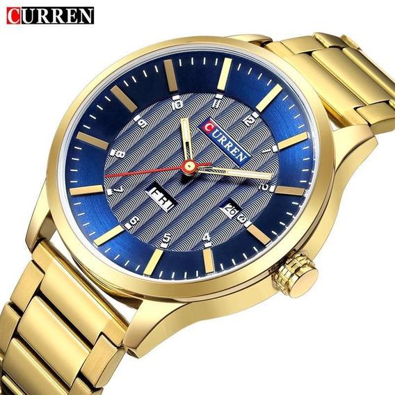 Relógio Curren 8316 Original De Luxo Com Calendário Aço Inox