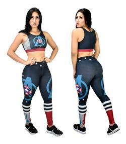 Kit Calça Legging + Top / Blusa Capitão America 3d Fitness