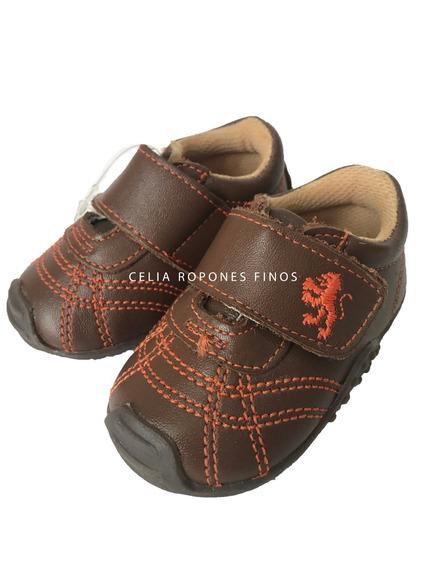 Zapatos Piel Con Suela Velcro Cafés Niño - Ropones Celia