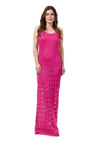 Vestido Longo Feminino Tricot Crochê Festa Noiva Verão 2018