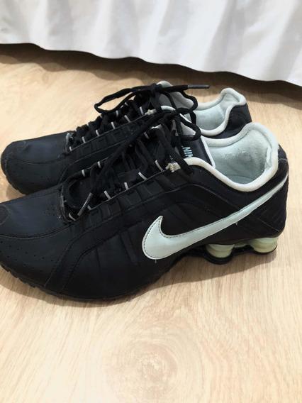 Tênis Nike Shox Júnior Original - Preto E Azul Claro.