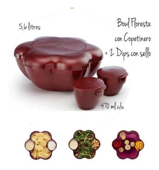 Floresta Bowl 5,6 It+ Copetinero+ 2 Dip Tupperware Bordo Gli