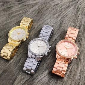 Relógios Pulseira De Aço Contena Quartzo Luxo