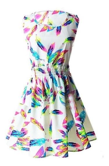 Vestido Casual De Moda Plumas Primavera-verano