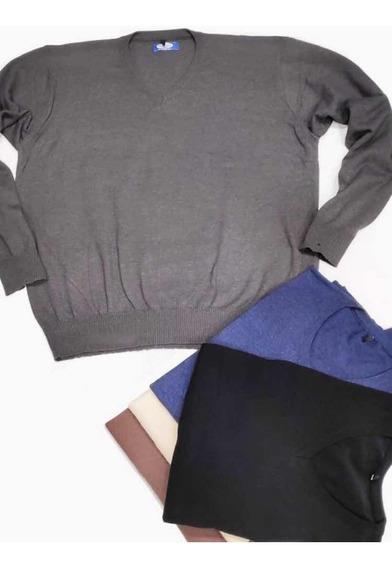 Sweater Tejido Esc V Liso. Talles Especiales Extra Grandes