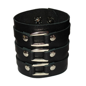 Pulseira Bracelete Couro Fivela Rock Preto Metal Emo Moto