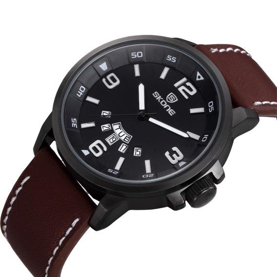 Relógio Masculino Skone 9345ag Pulseira De Couro Analógico