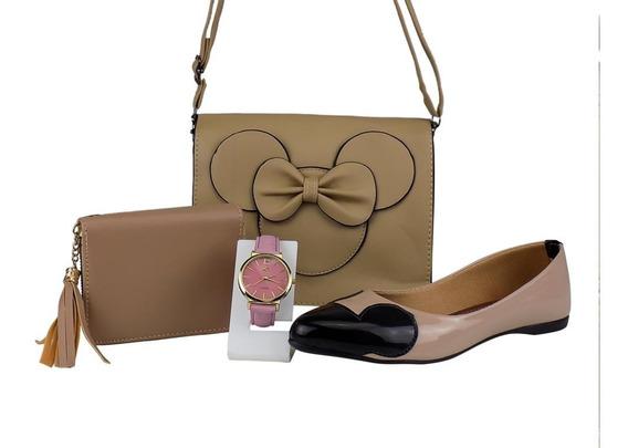Kit Bolsa Feminina Minnie+ Sapatilha+ Relógio+ Carteira