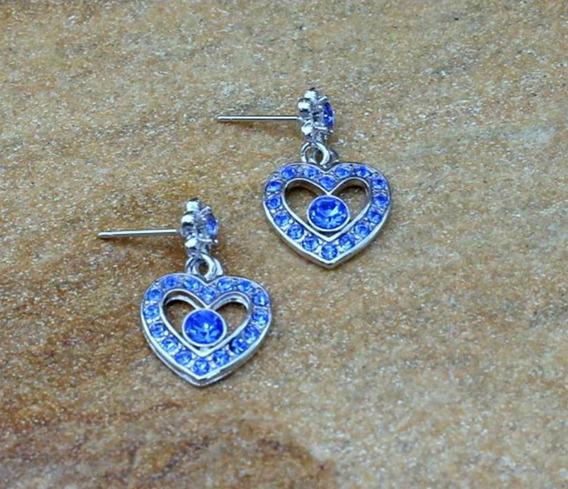 Brinco Azul De Coração Prateado Strass Pequeno Bijuterias