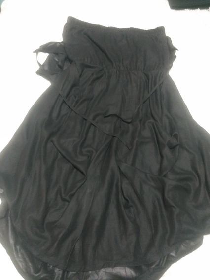 Vestido De Fiesta Mujer Negro Straples Lucia Blanco.capas Bo
