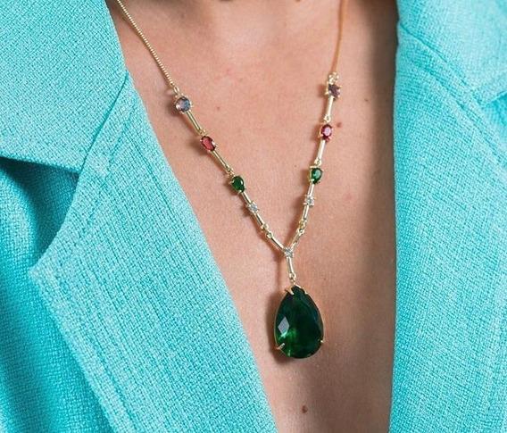Colar Pedra Verde Turmalina Esmeralda Festas Banhado Ouro