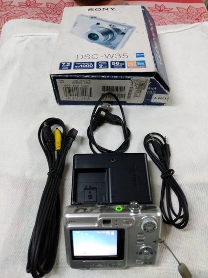 Câmara Fotográfica Digital Sony Dsc-w35 Com Acessórios