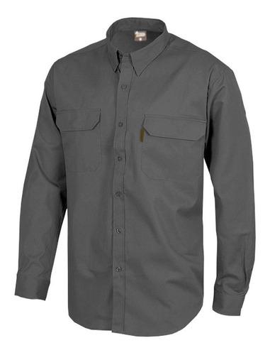 Camisa Básica Trabajo Hombre Gris Manga Larga