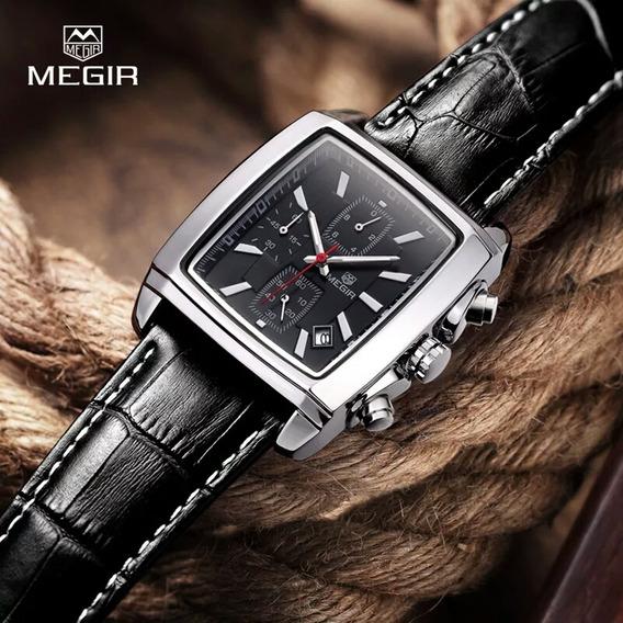 Relógio De Pulso Masculinos Megir Luxo Pulseira De Couro