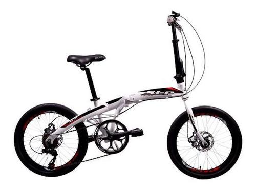 Bicicleta urbana plegable SLP   F-50 R20 7v frenos de disco mecánico cambio Shimano Tourney TZ500 color blanco/negro