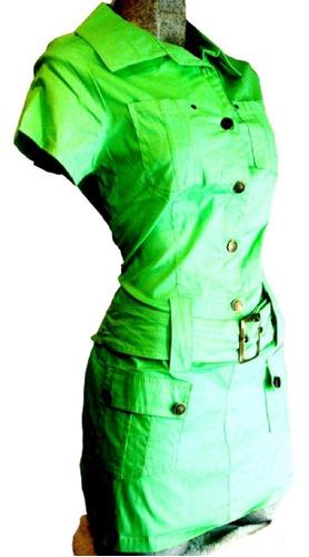 Imagen 1 de 2 de Mini Vestido Bluson Popelina Algodon Moda Primavera Verano
