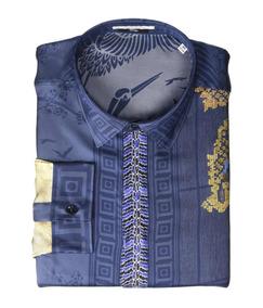 Camisa Hombre Versace Dragon Print Silk Button Down