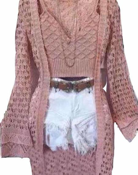 Kit Cropped + Colete Kimono Saída De Praia Tricô Promoção