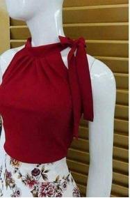 Blusa Crepe Gola De Amarrar - Vermelho