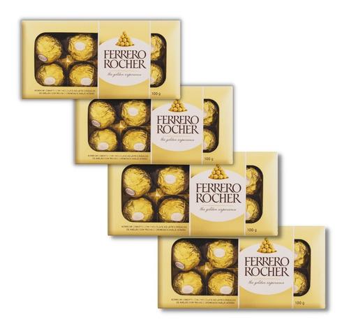 Imagem 1 de 7 de Kit 4 Caixas Bombom Ferrero Rocher 8 Unidades Presente 100g