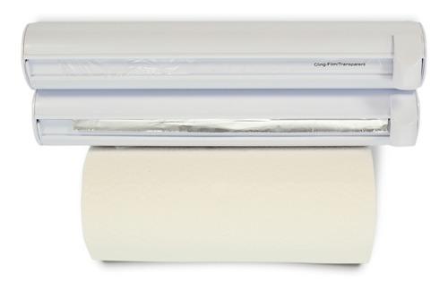 Imagen 1 de 4 de Kit Portarollo Premium Toallas Cocina Papel Aluminio Film