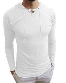 ecac8b3b43 Camiseta Masculina Gola V Rasa Capuz Cordão Manga Longa