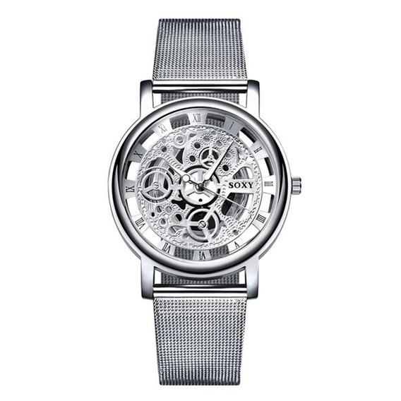 10 Relógios Pulso Aço Inoxidavel Luxo Unissex Luxo