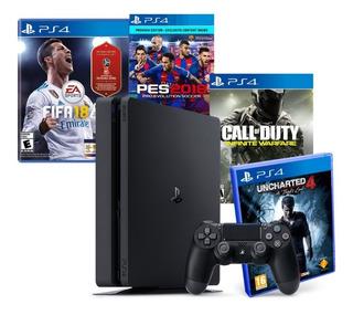 Sony Playstation 4 Slim 1tb + 4 Juegos Fisicos !!!