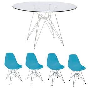 Conj Mesa Eiffel 90cm Vidro + 4 Cadeiras Eiffel Azul
