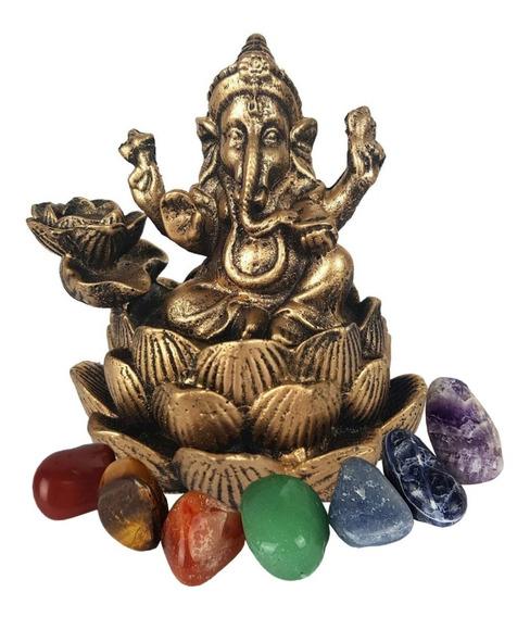 Deus Ganesha Incensario Cachoeira Cascata + Pedra 7 Chakras