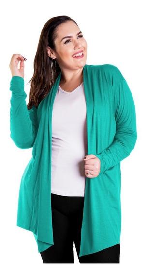 Roupa Feminina Casaco Cardigan Comprido Plus Size
