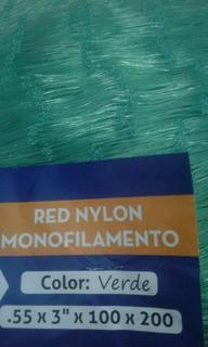 Red De Pesca Malla Monofilamen Cal 0.55 Luz 3 Caida 100x200m