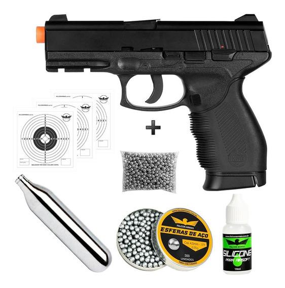 Pistola 4,5mm Co2 24/7 + Co2 + 550 Esferas + Silicone +alvo