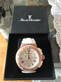 Relógio Jean Vernier Branco Rose Jv1102 Top Originalgarantia