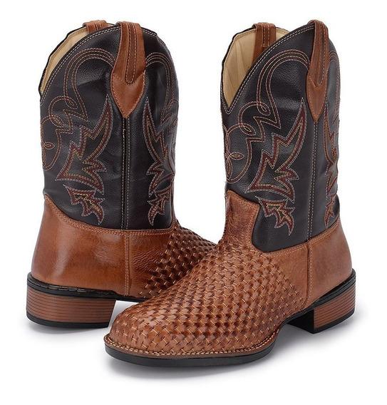 Bota Country Masculina Cano Longo Texana Rodeio Couro Tricê