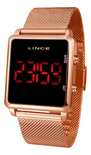 Relógio Lince Feminino Mdg4596l Pxrx Rosé Led Negativo