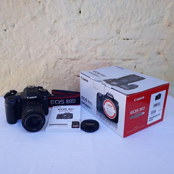 Câmera Canon 80d Semi Nova + Lente 18-55 + Cartão Sd 32 Gb