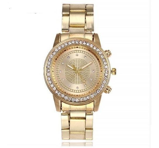 Relógio Luxo Feminino De Aço Dourado