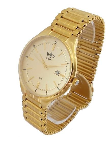 Relógio Masculino Vip Mh303 Dourado Original Banhado A Ouro