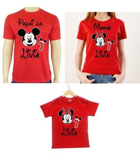 Kit 3 Camisas Mickey Ou Minnie Vermelha Para Aniversario