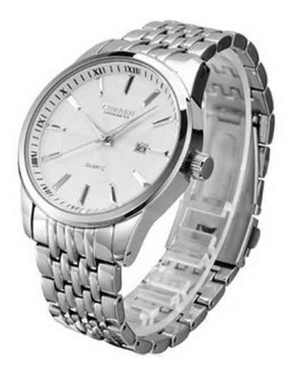 Relógio Curren Masculino Prata 8052 Analógico Prova D