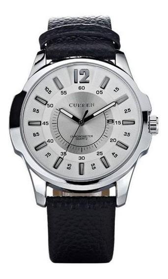 Relógio Masculino Curren Analógico 8123 Prata E Branco