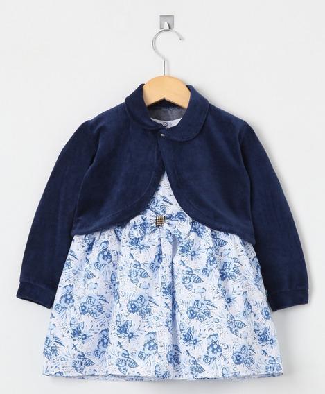 Vestido Infantil Floral Marinho Com Bolero Em Plush