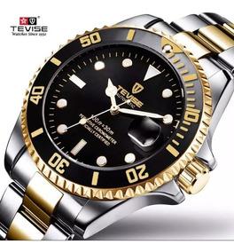 Relógio Automático Tevise Prata E Dourado Com Caixa Original