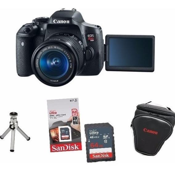 Câmera Canon Rebel T6i C/ 18-55mm Stm+ 32gb+ Bolsa+ Tripé
