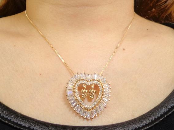 Corrente Dourado Coração Cristal/strass 2 Meninas