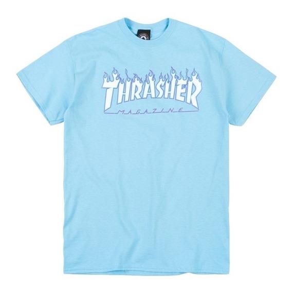Remera Thrasher Hombre - Modelo Flame Celeste - Tattoo-skate