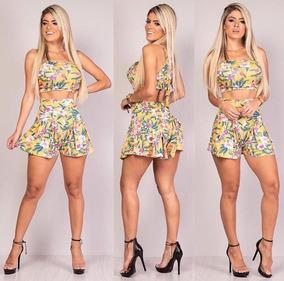 Conjunto Feminino Shorts E Cropped Florido Cintura Alta 2019