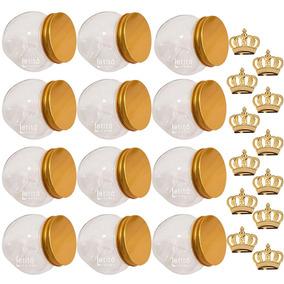 Kit 12 Baleiros Tampa Dourada +12 Coroas Dourada Plástico