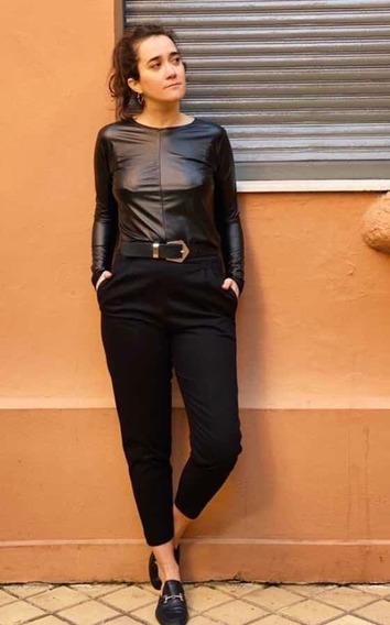 Pantalon Pitillo Negro - Gabardina Elastizada - Talle Large